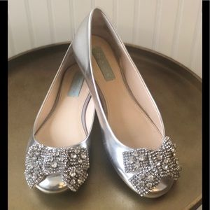 BETSEY JOHNSON EVER FLATS WITH RHINESTONE BOW 7.5
